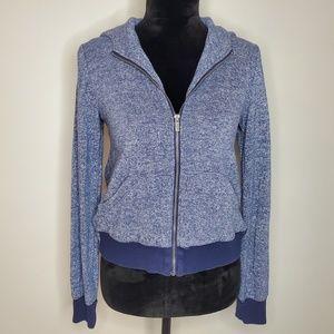 BCBGMAXAZRIA - Hooded Zip Up Sweatshirt Blue White